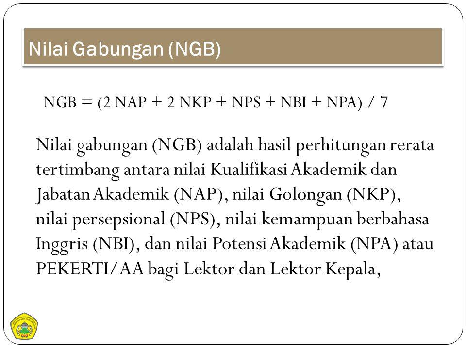 Nilai Gabungan (NGB) NGB = (2 NAP + 2 NKP + NPS + NBI + NPA) / 7.