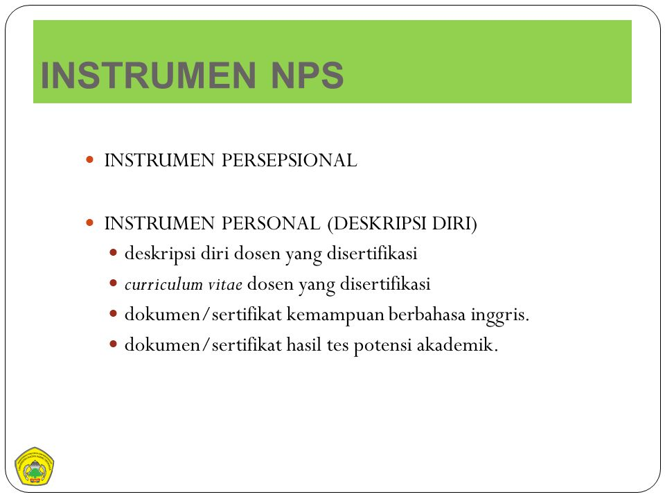 INSTRUMEN NPS INSTRUMEN PERSEPSIONAL