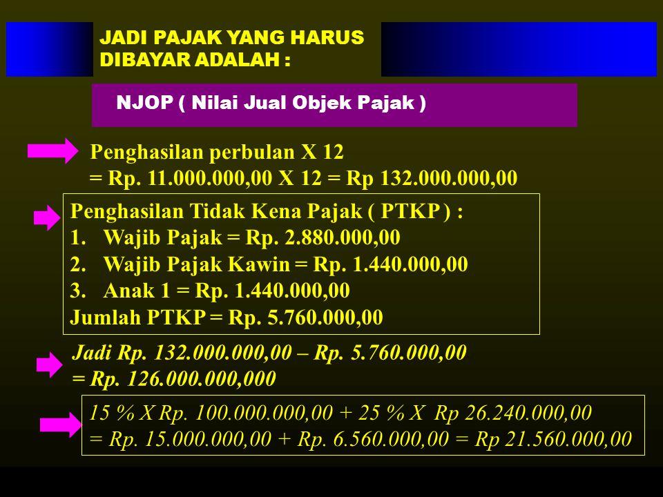 Penghasilan perbulan X 12 = Rp. 11.000.000,00 X 12 = Rp 132.000.000,00