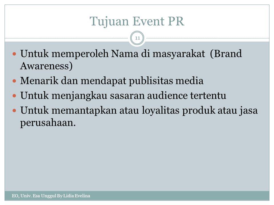 Tujuan Event PR Untuk memperoleh Nama di masyarakat (Brand Awareness)