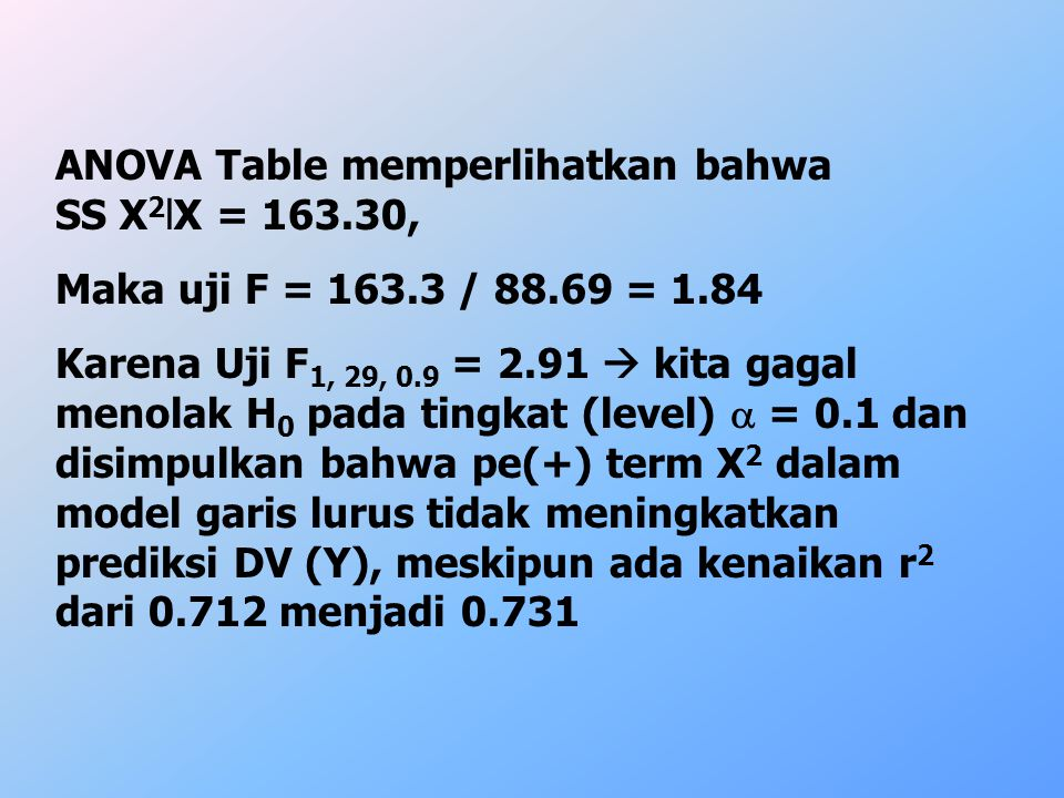 ANOVA Table memperlihatkan bahwa SS X2lX = 163.30,