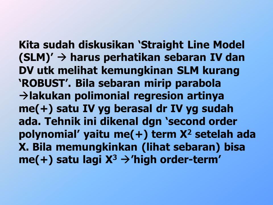 Kita sudah diskusikan 'Straight Line Model (SLM)'  harus perhatikan sebaran IV dan DV utk melihat kemungkinan SLM kurang 'ROBUST'.