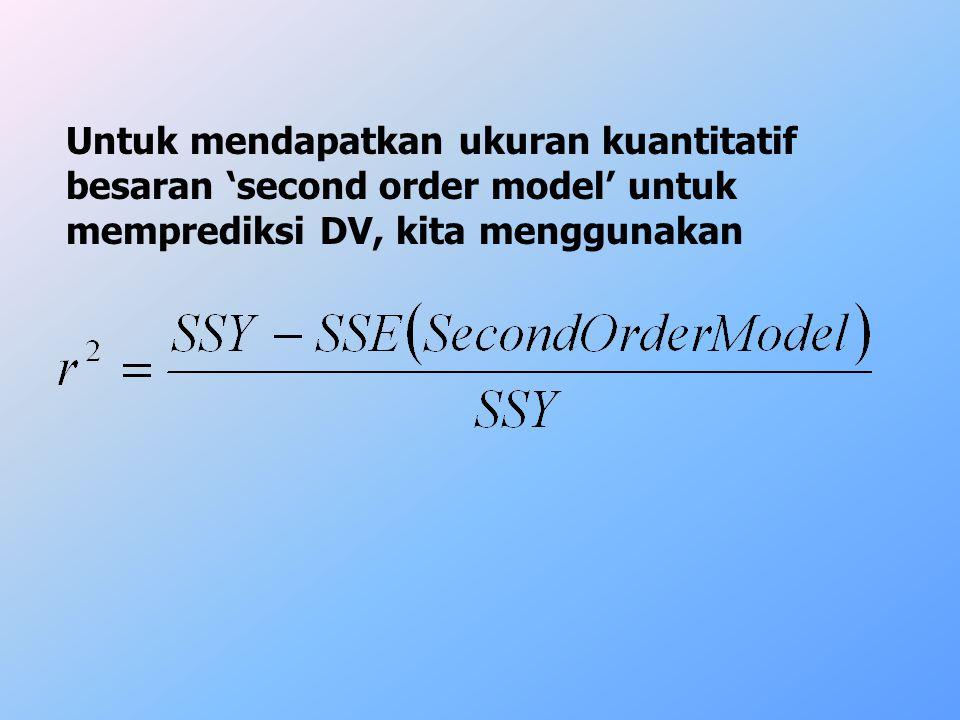 Untuk mendapatkan ukuran kuantitatif besaran 'second order model' untuk memprediksi DV, kita menggunakan