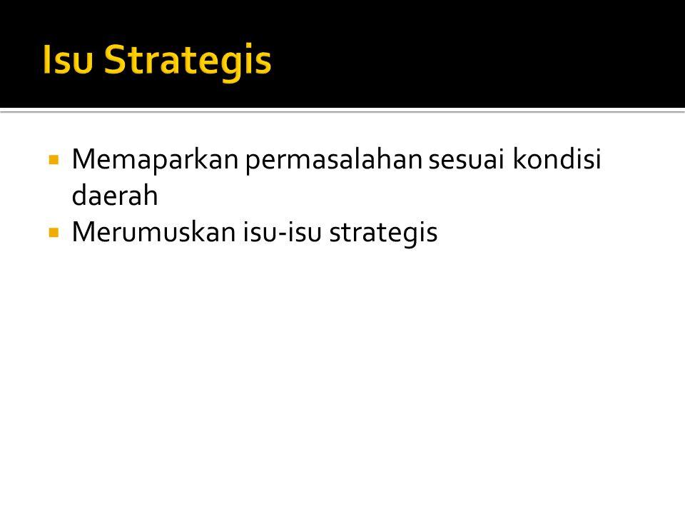Isu Strategis Memaparkan permasalahan sesuai kondisi daerah