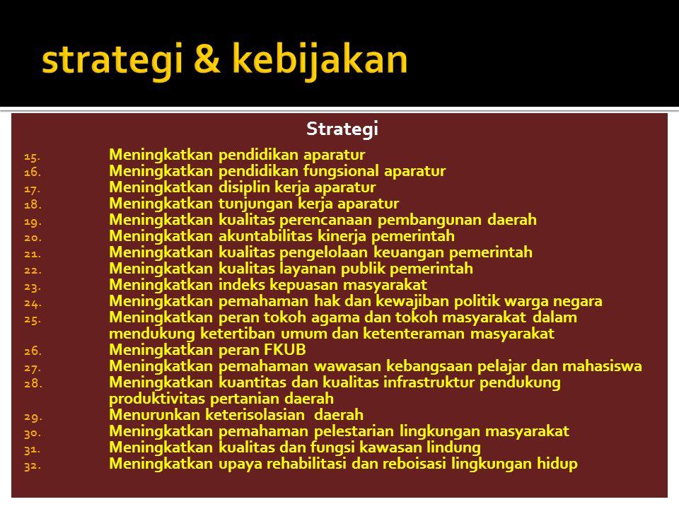 strategi & kebijakan Strategi Meningkatkan pendidikan aparatur