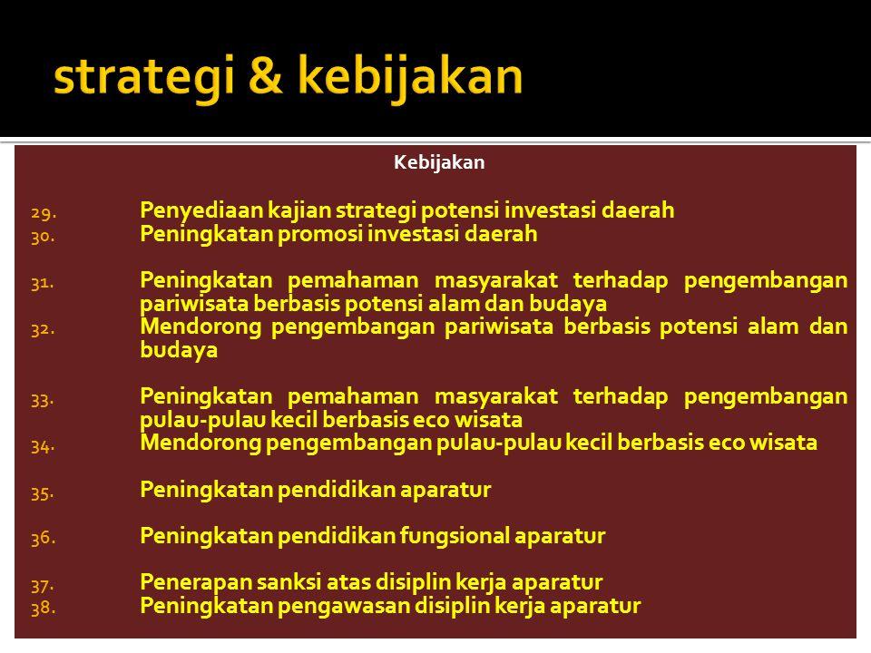 strategi & kebijakan Kebijakan. Penyediaan kajian strategi potensi investasi daerah. Peningkatan promosi investasi daerah.