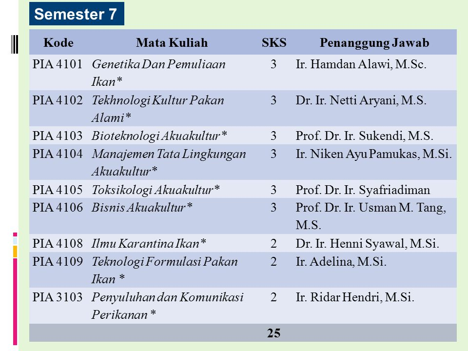 Semester 7 Kode Mata Kuliah SKS Penanggung Jawab PIA 4101