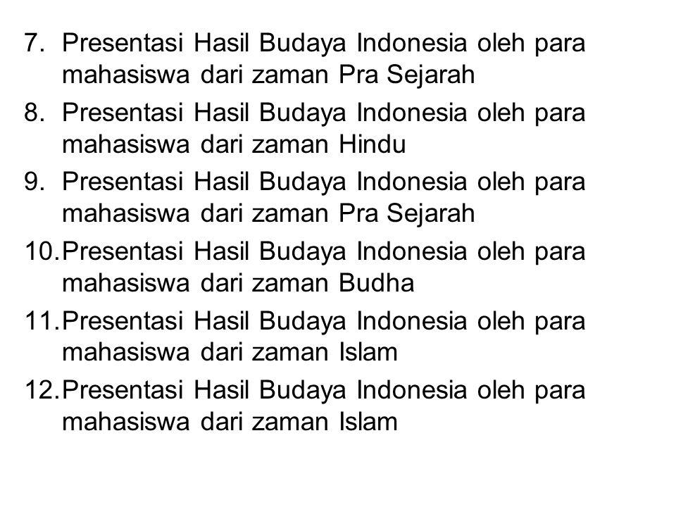 Presentasi Hasil Budaya Indonesia oleh para mahasiswa dari zaman Pra Sejarah