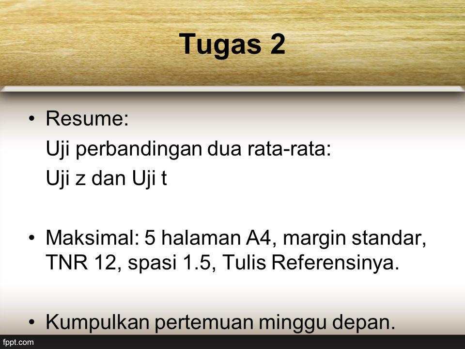 Tugas 2 Resume: Uji perbandingan dua rata-rata: Uji z dan Uji t