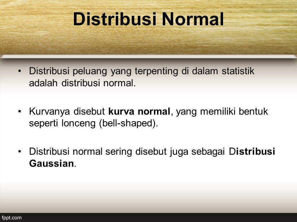 Distribusi Normal Distribusi peluang yang terpenting di dalam statistik adalah distribusi normal.