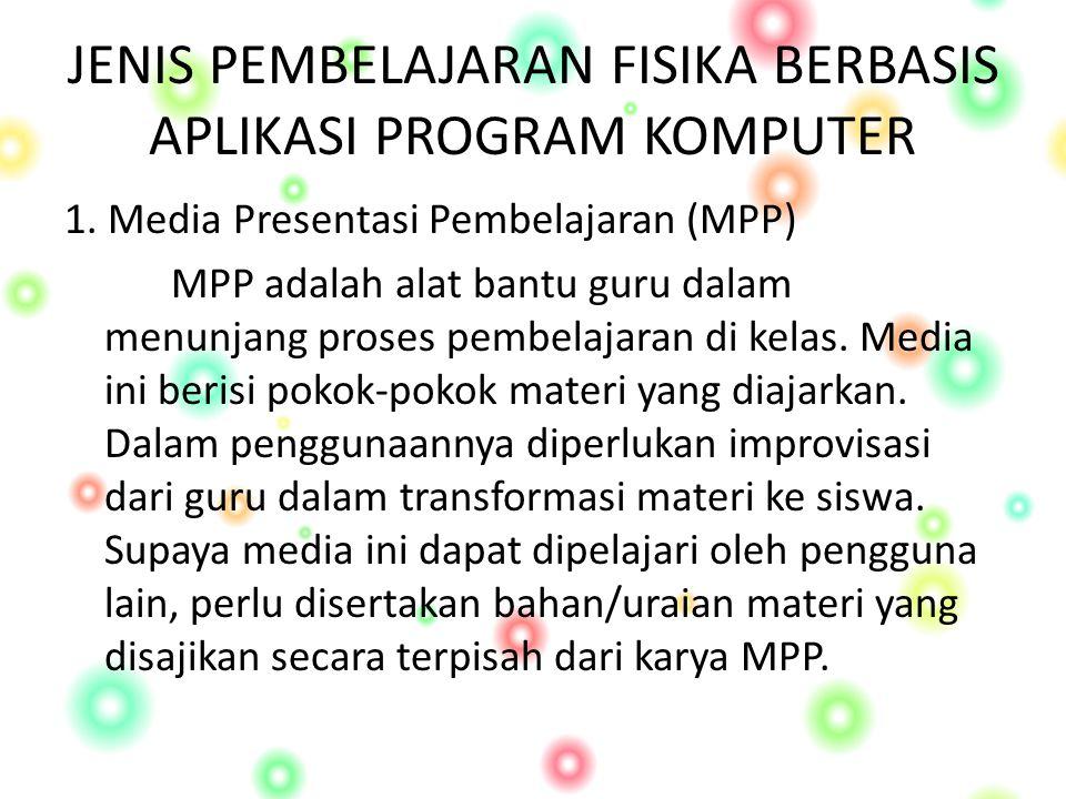 JENIS PEMBELAJARAN FISIKA BERBASIS APLIKASI PROGRAM KOMPUTER