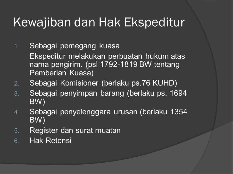 Kewajiban dan Hak Ekspeditur