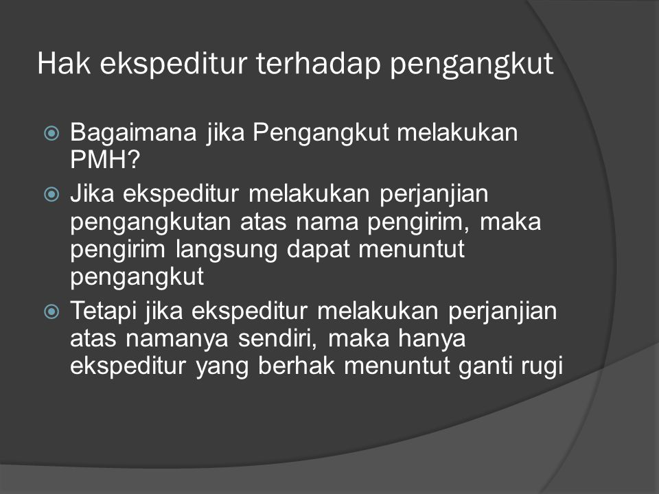 Hak ekspeditur terhadap pengangkut