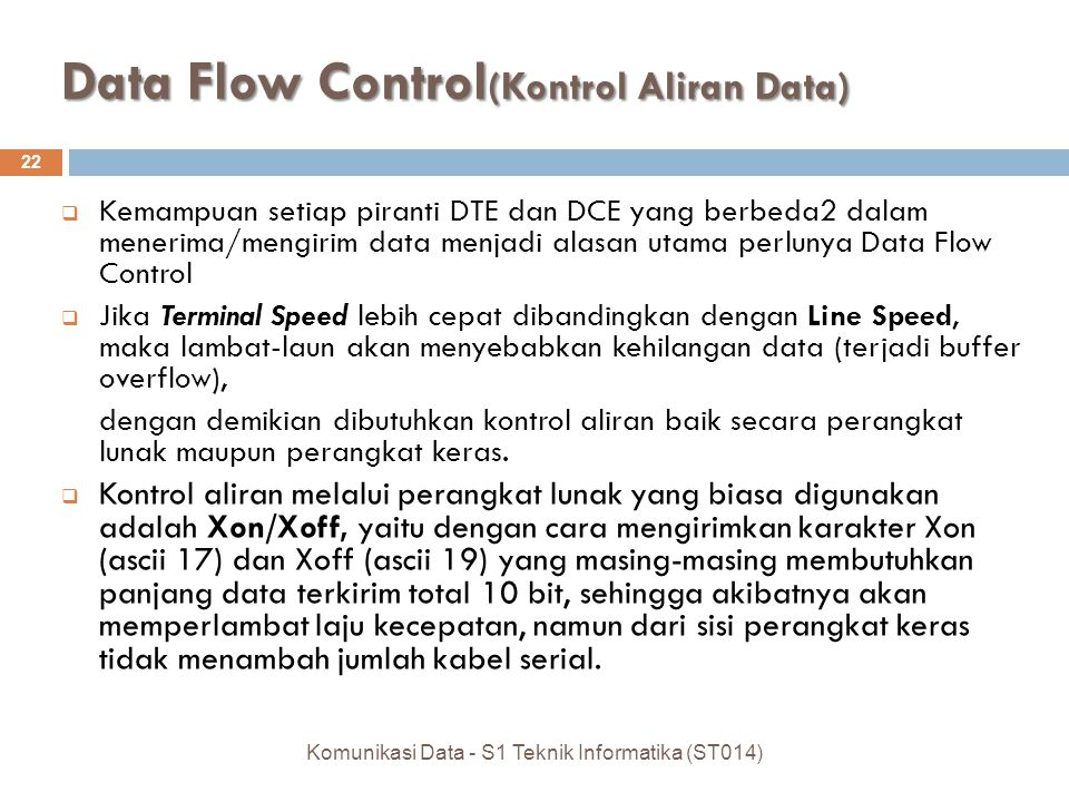 Data Flow Control(Kontrol Aliran Data)
