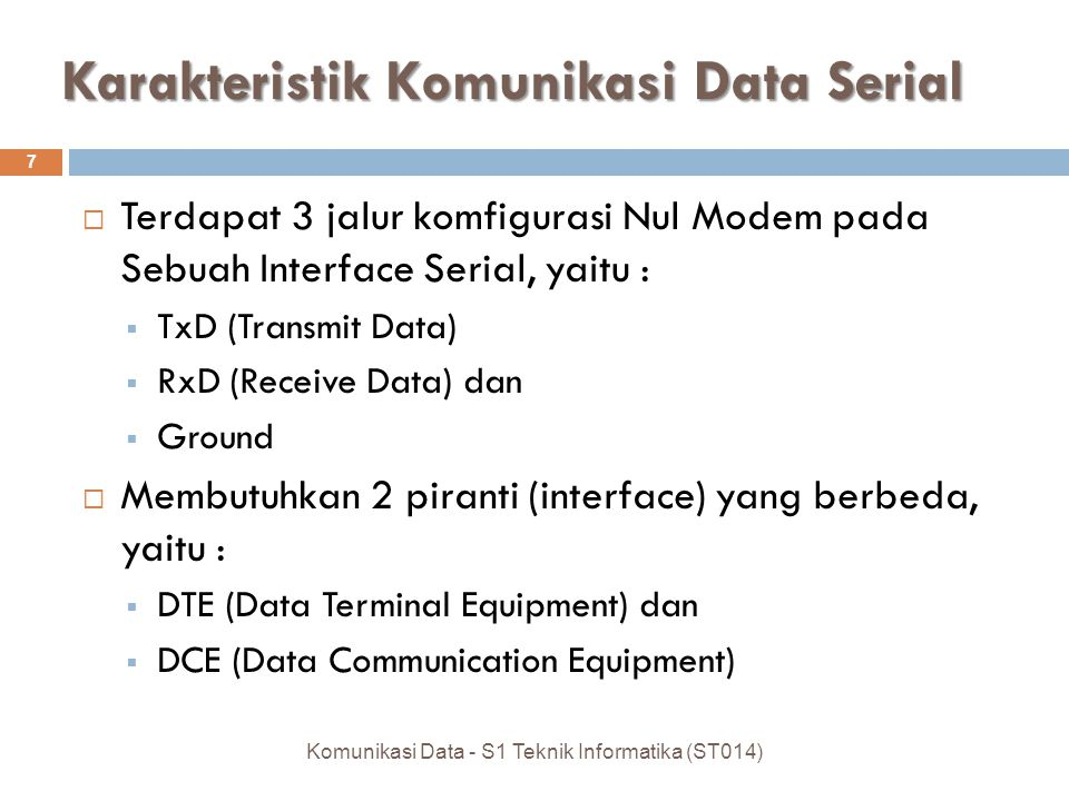 Karakteristik Komunikasi Data Serial