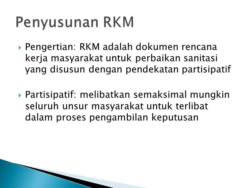 Penyusunan RKM Pengertian: RKM adalah dokumen rencana kerja masyarakat untuk perbaikan sanitasi yang disusun dengan pendekatan partisipatif.