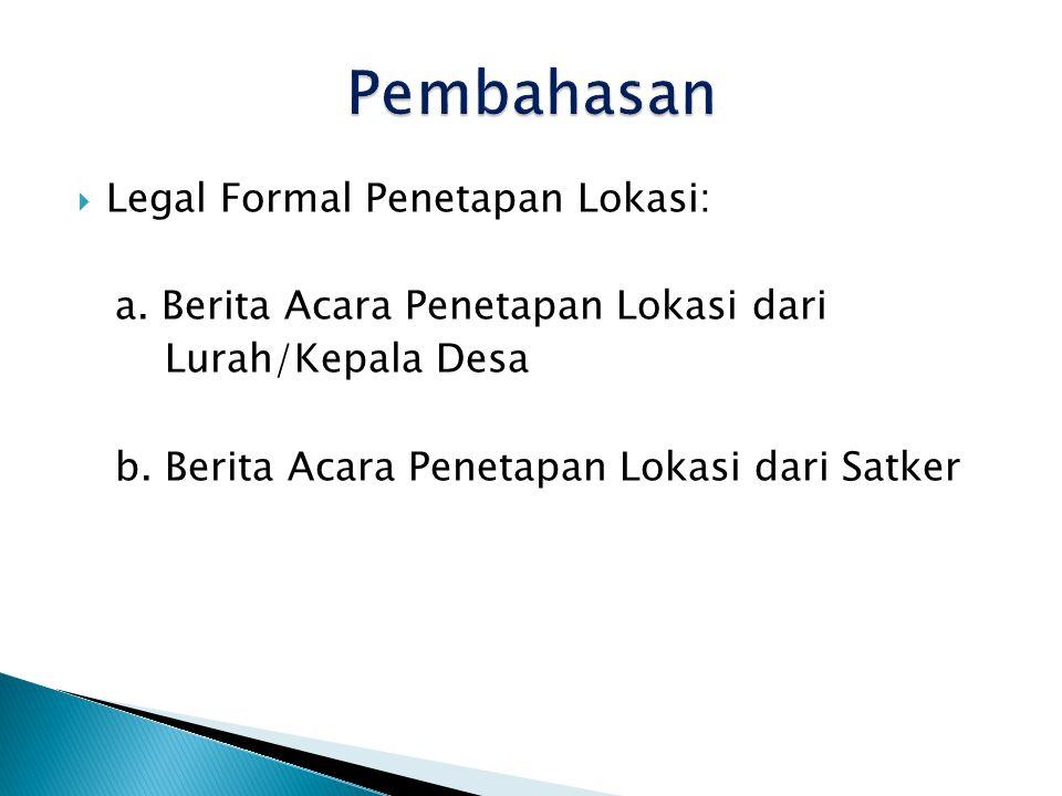 Pembahasan Legal Formal Penetapan Lokasi: