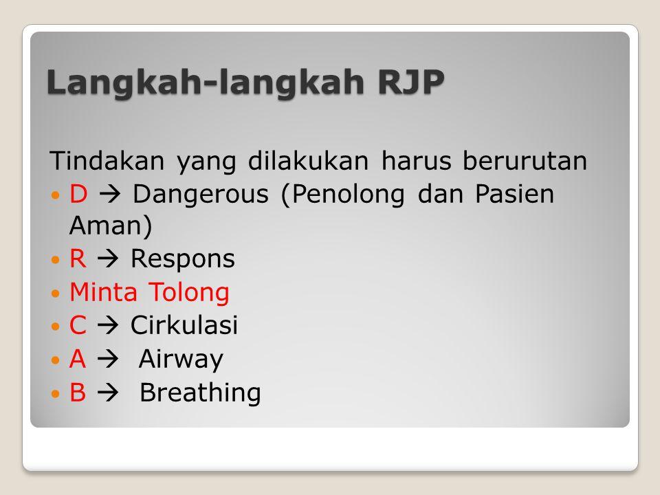 Langkah-langkah RJP Tindakan yang dilakukan harus berurutan