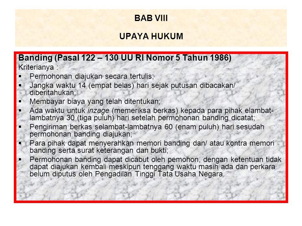 Banding (Pasal 122 – 130 UU RI Nomor 5 Tahun 1986)