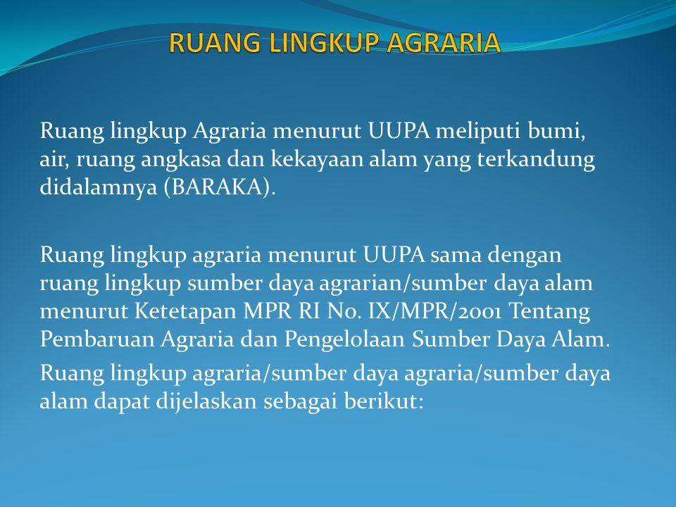RUANG LINGKUP AGRARIA Ruang lingkup Agraria menurut UUPA meliputi bumi, air, ruang angkasa dan kekayaan alam yang terkandung didalamnya (BARAKA).