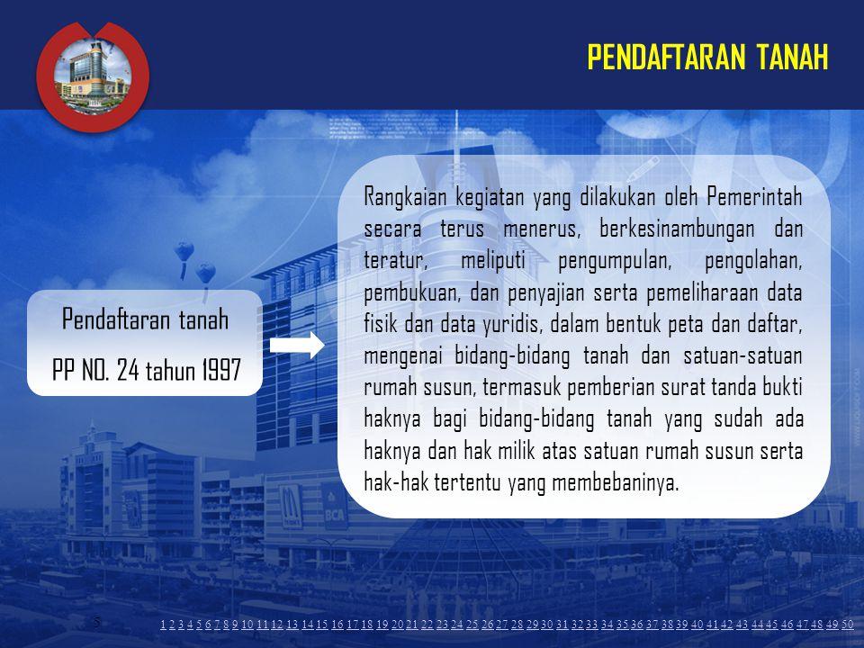 PENDAFTARAN TANAH Pendaftaran tanah PP NO. 24 tahun 1997