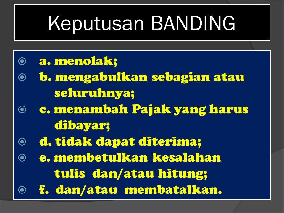 Keputusan BANDING a. menolak; b. mengabulkan sebagian atau seluruhnya;
