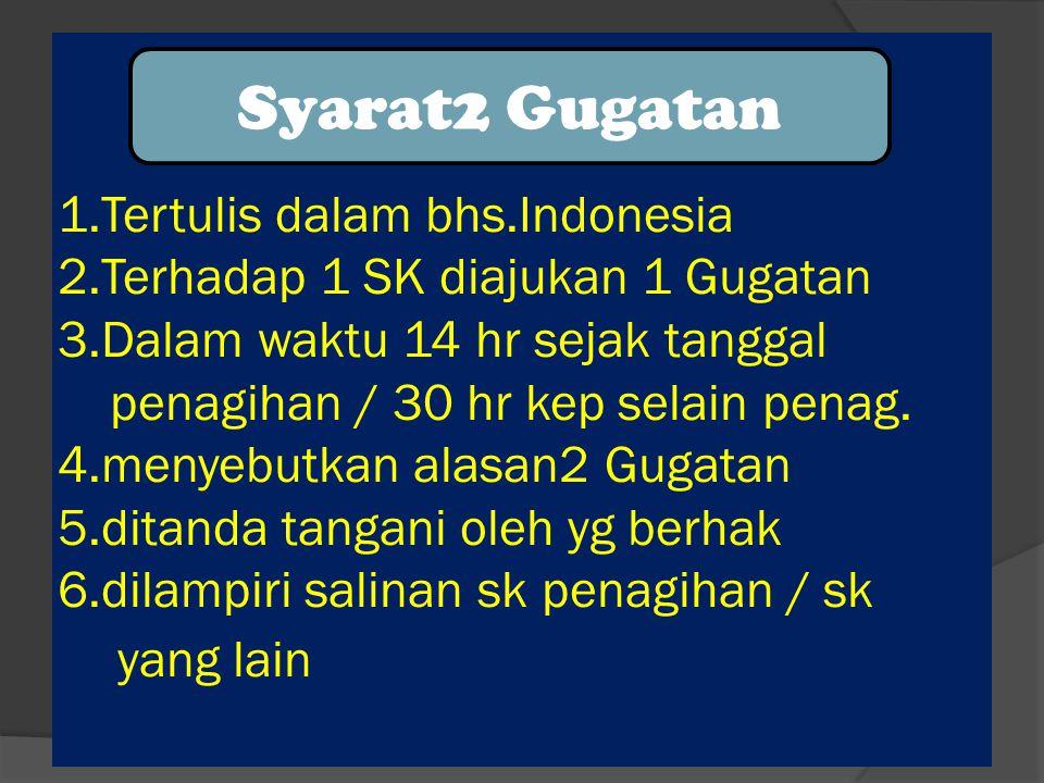 1. Tertulis dalam bhs. Indonesia 2. Terhadap 1 SK diajukan 1 Gugatan 3