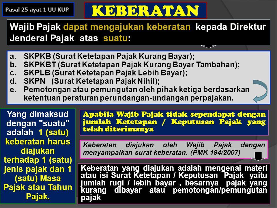 Pasal 25 ayat 1 UU KUP KEBERATAN. Wajib Pajak dapat mengajukan keberatan kepada Direktur Jenderal Pajak atas suatu: