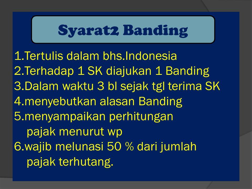1. Tertulis dalam bhs. Indonesia 2. Terhadap 1 SK diajukan 1 Banding 3