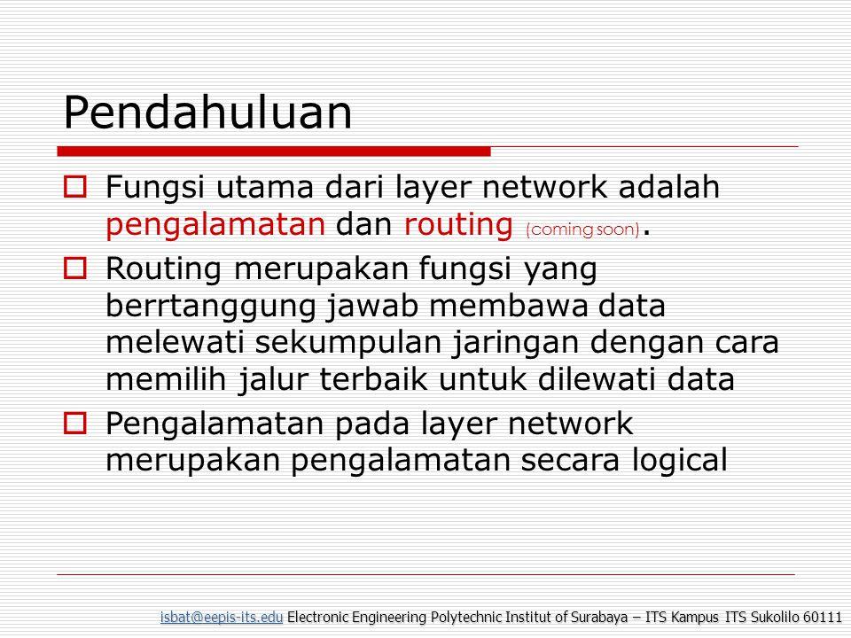 Pendahuluan Fungsi utama dari layer network adalah pengalamatan dan routing (coming soon).