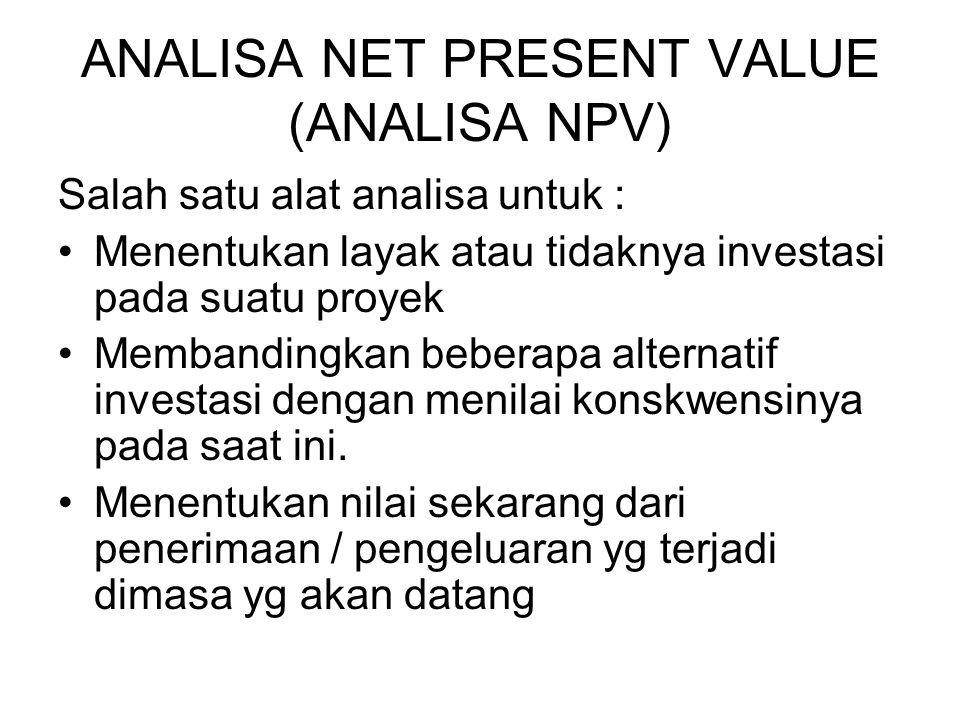 ANALISA NET PRESENT VALUE (ANALISA NPV)