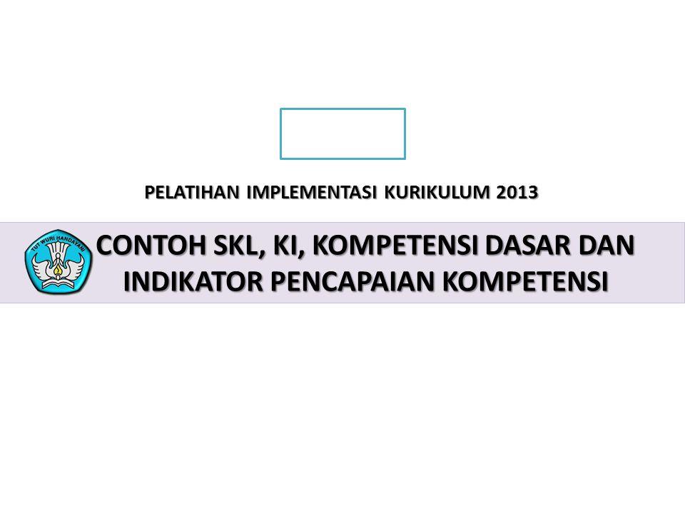 CONTOH Skl, ki, kompetensi dasar dan indikator pencapaian kompetensi