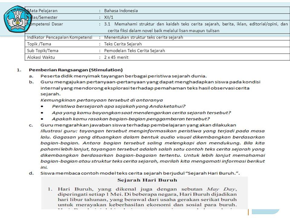 Mata Pelajaran : Bahasa Indonesia. Kelas/Semester. XII/1. Kompetensi Dasar.