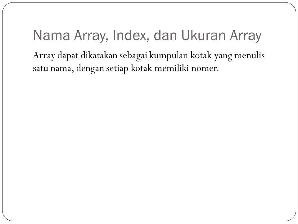 Nama Array, Index, dan Ukuran Array