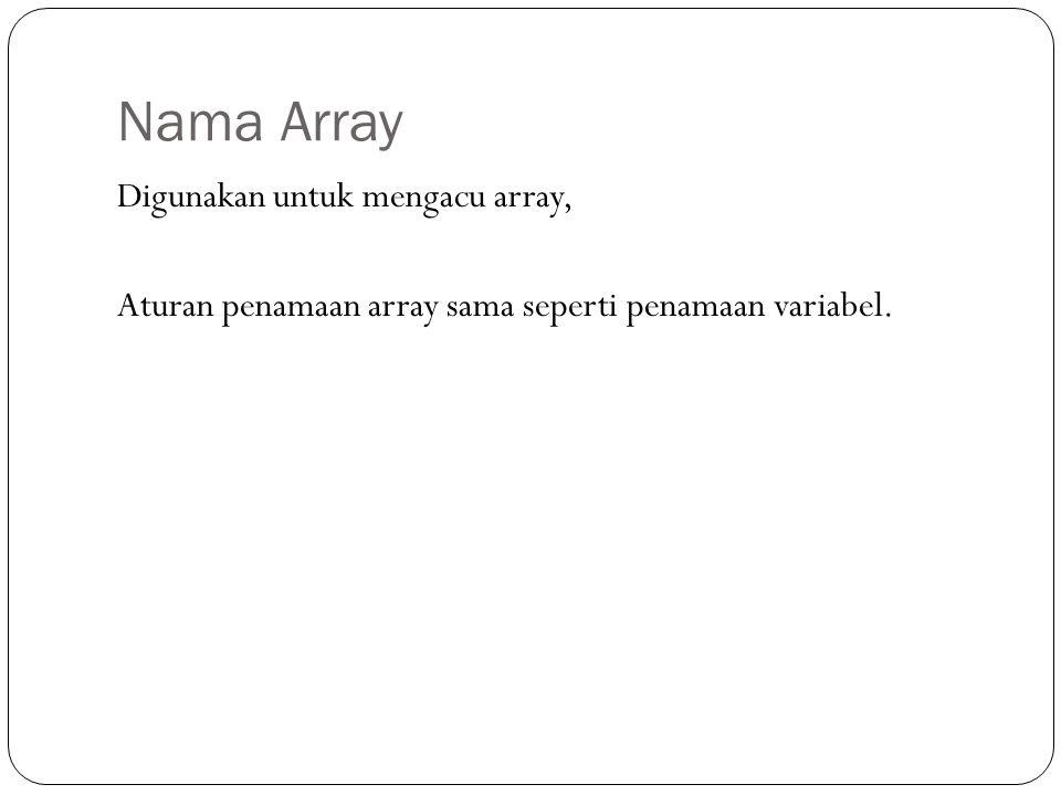 Nama Array Digunakan untuk mengacu array, Aturan penamaan array sama seperti penamaan variabel.