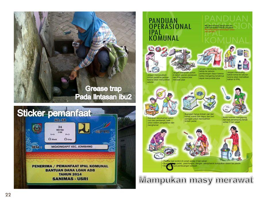 Grease trap Pada llntasan ibu2 Sticker pemanfaat Mampukan masy merawat