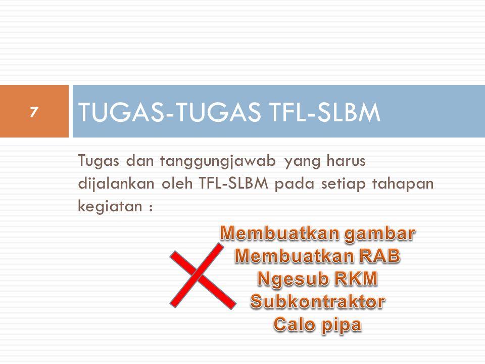 TUGAS-TUGAS TFL-SLBM Tugas dan tanggungjawab yang harus dijalankan oleh TFL-SLBM pada setiap tahapan kegiatan :