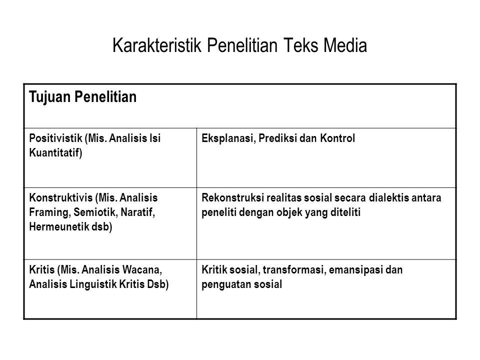 Karakteristik Penelitian Teks Media