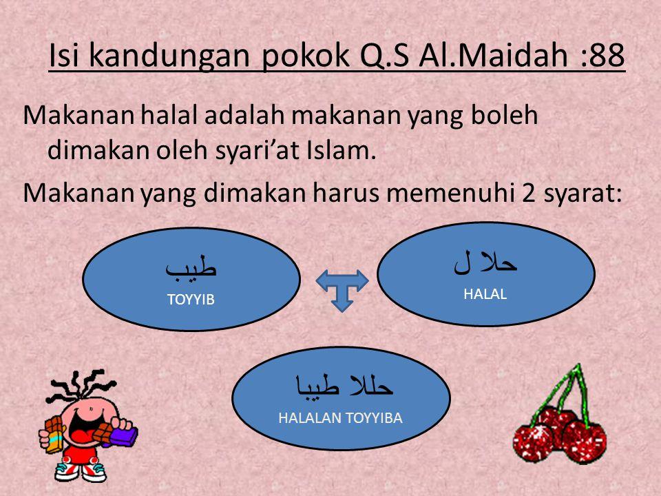 Isi kandungan pokok Q.S Al.Maidah :88