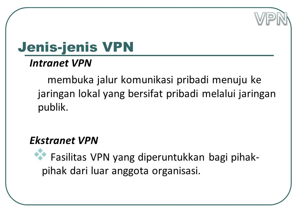 VPN Jenis-jenis VPN Intranet VPN
