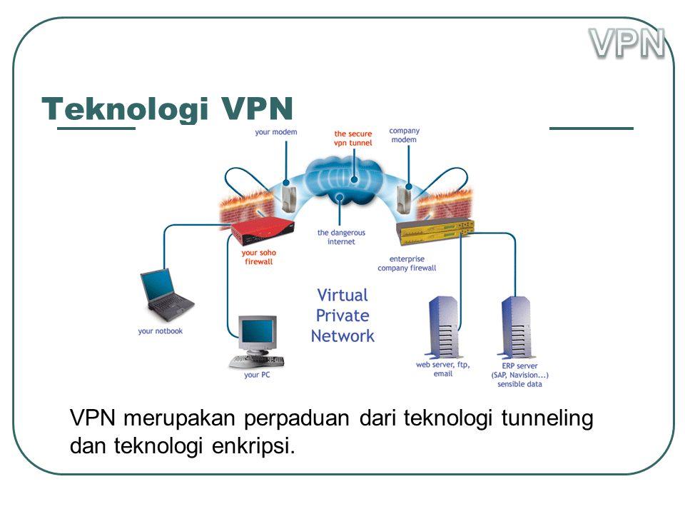 VPN Teknologi VPN VPN merupakan perpaduan dari teknologi tunneling dan teknologi enkripsi.