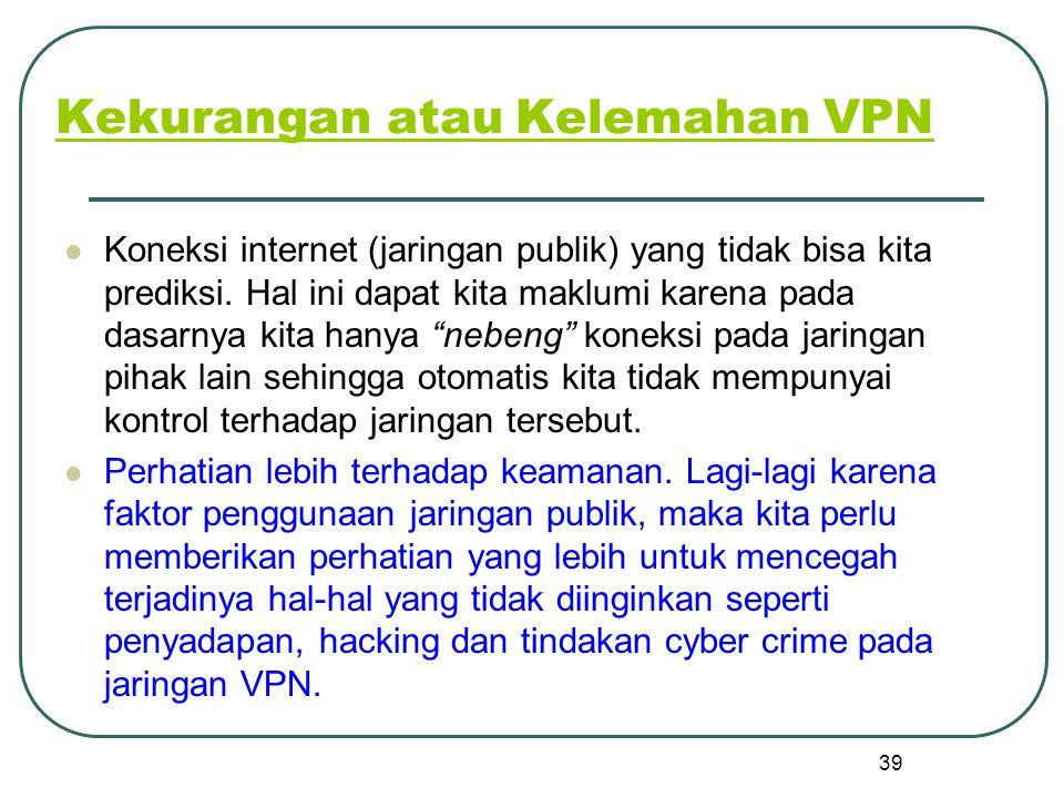 Kekurangan atau Kelemahan VPN