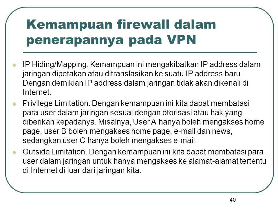 Kemampuan firewall dalam penerapannya pada VPN