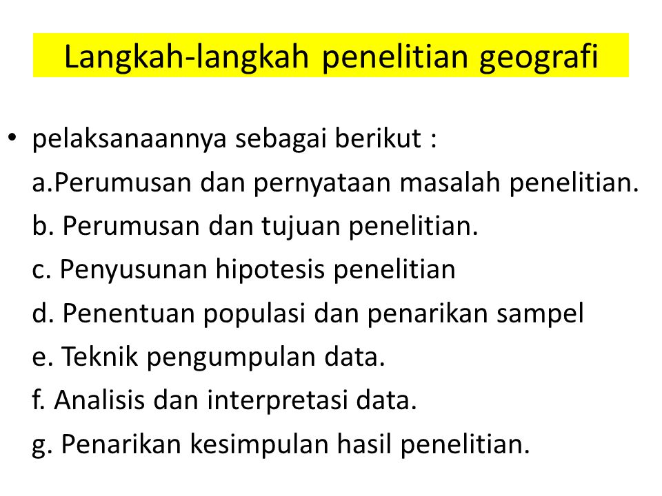 Langkah-langkah penelitian geografi
