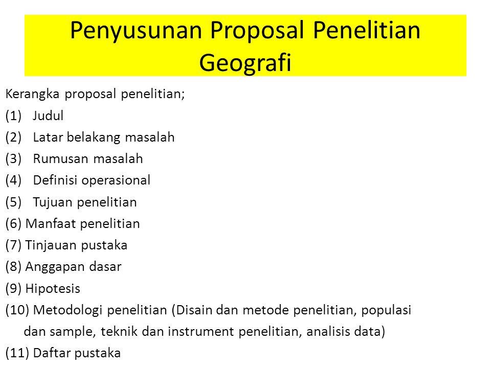 Penyusunan Proposal Penelitian Geografi
