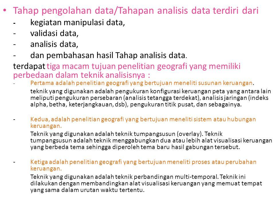 Tahap pengolahan data/Tahapan analisis data terdiri dari