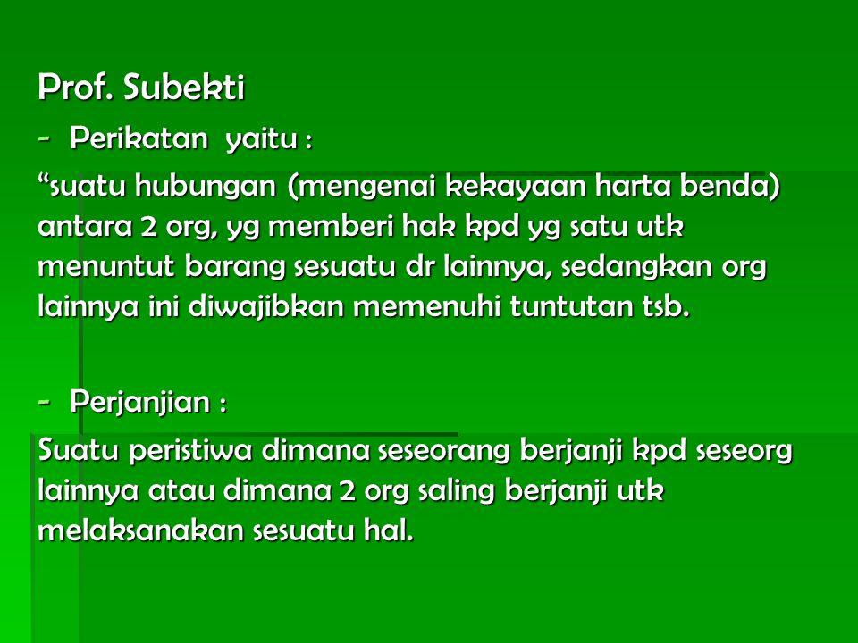 Prof. Subekti Perikatan yaitu :