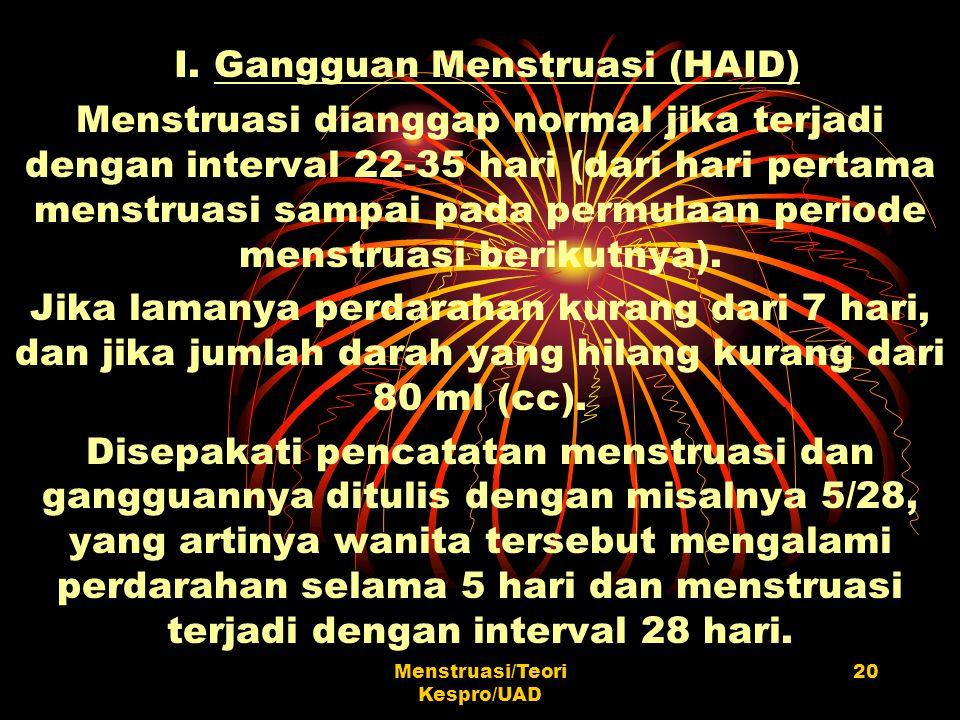 I. Gangguan Menstruasi (HAID)