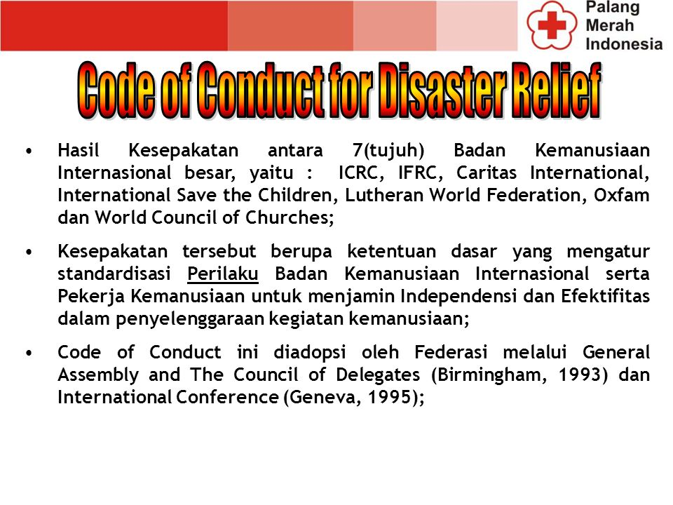 Code of Conduct for Disaster Relief