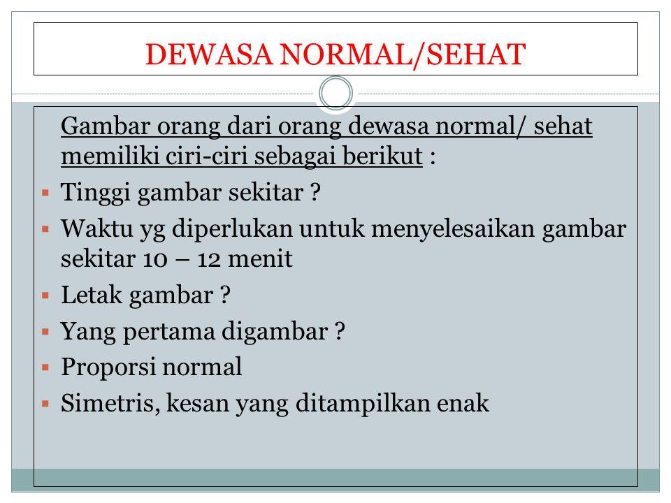 DEWASA NORMAL/SEHAT Gambar orang dari orang dewasa normal/ sehat memiliki ciri-ciri sebagai berikut :